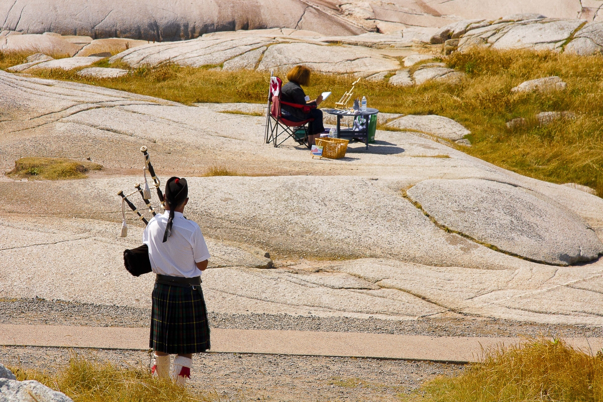 Piper on the rocks at Peggy's Cove